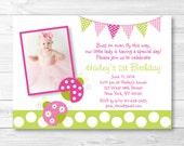 Pink Ladybug Birthday Inv...