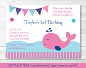 Cute Pink Whale Birthday ...