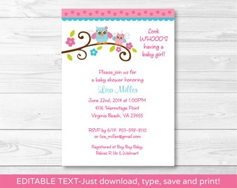 Girl Owl Baby Shower Invitation INSTANT DOWNLOAD Editable PDF