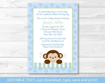 Cute Monkey Baby Shower Invitation / Monkey Baby Shower Invite / Blue Monkey Baby Shower Invite / INSTANT DOWNLOAD Editable PDF