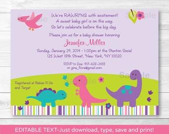 Cute Pink Dinosaur Baby Shower Invitation / Dinosaur Baby Shower Invite / Pink & Purple / Baby Girl / INSTANT DOWNLOAD Editable PDF
