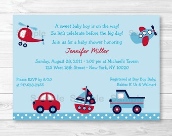 Transportation Vehicles Car Truck Sailboat Airplane Helicopter Baby Shower Invitation PRINTABLE