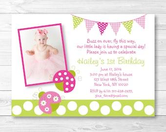 Pink Ladybug Birthday Invitation / Ladybug Birthday Invite / Pink & Green Ladybug / Any Age / PRINTABLE