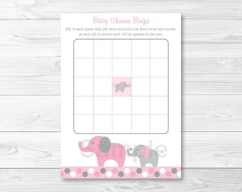 Pink Elephant Baby Shower Bingo Cards INSTANT DOWNLOAD