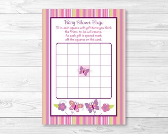 Cute Butterfly Baby Shower Bingo Game / Butterfly Baby Shower / Pink & Purple / Baby Shower Bingo Game / Printable INSTANT DOWNLOAD