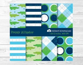 Alligator Digital Paper / Alligator Baby Shower / Alligator Birthday / Argyle Pattern / Stripe / PERSONAL USE Instant Download A310