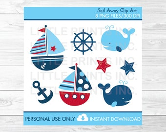Nautical Sailboat Whale Clipart PERSONAL USE Instant Download