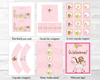 Pink Jungle Animal Baby Shower Party Package / Jungle Animal Baby Shower / Safari Baby Shower / INSTANT DOWNLOAD A191