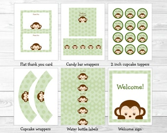 Monkey Baby Shower Party Package / Monkey Baby Shower Decorations / Boy Baby Shower / Printable INSTANT DOWNLOAD