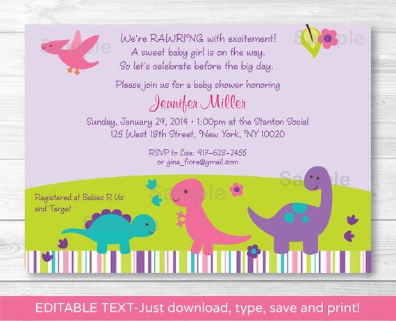 cute pink dinosaur baby shower invitation / dinosaur baby, Birthday invitations