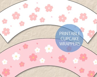 Printable Cherry Blossom Cupcake Wrappers, Printable Sakura Cupcake Wrappers, Hanami Cupcake Wrappers, Instant Download