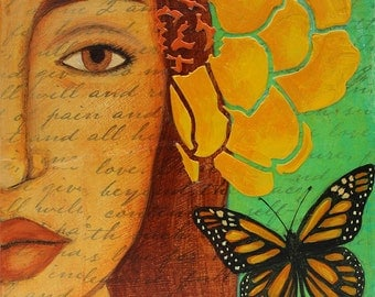 Butterfly Flower Portrait Folk Art Original Print of Painting by Tamara Adams