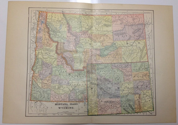 Antique 1897 Montana Idaho Wyoming Regional Map