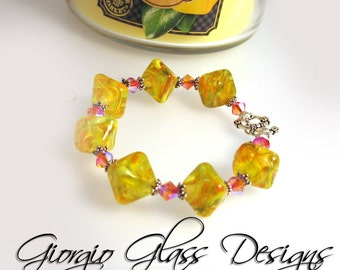 Sugared Lemons Lampwork Bead Bracelet with Sterling Silver, n Swarovski Crystals Handmade SRA SRAJD Yellow Orange