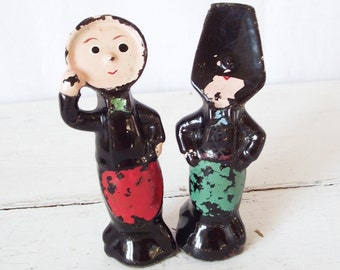 Vintage Anthropomorphic Salt and Pepper Shakers - Telephone or Fork and Spoon