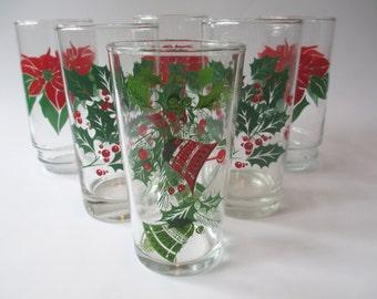 Vintage Christmas Red Green Poinsettia Glass Tumbler Set of Six