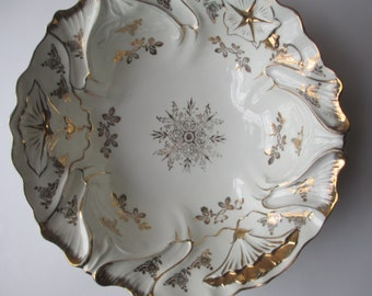 Vintage White Gold Ornate Serving Bowl