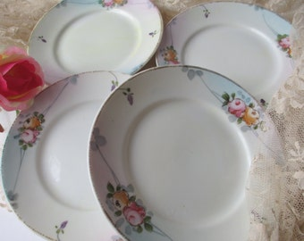 Vintage Nippon Small Plates Pink Yellow Rose Set of Four - Shabby Cute