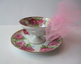 Vintage Pink Rose Iridescent Footed Teacup & Saucer