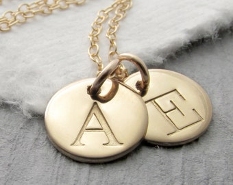 14k Solid Gold Initial Necklace, Typewriter Font, Solid Gold Charm Necklace, Personalized Jewelry