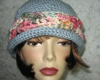Crochet Pattern Brimmed Womens Hat With Art Yarn Trim Instant Download