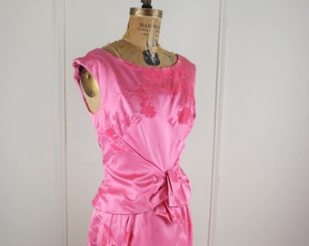 satin & velvet, vintage 1950s Azalea Pink Flocked Bombshell Party Dress - size small to medium