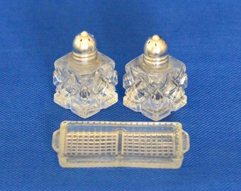 Vintage Pressed Glass Salt and Pepper Set with Tray Made In Japan