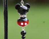 Disney Magic Mickey Minnie Mouse Sra Lampwork Rhinestones DeSIGNeR Necklace Sterling Silver