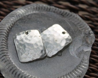 Sterling Rectangular Hammered Charms