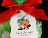 Personalized Christmas Gift Tags, Santa with reindeer, set of 24