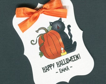 Large Personalized Halloween Favor Tags, black cat with pumpkin, set of 25