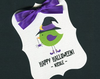 Large Personalized Halloween Favor Tags, bird with witches hat, set of 25