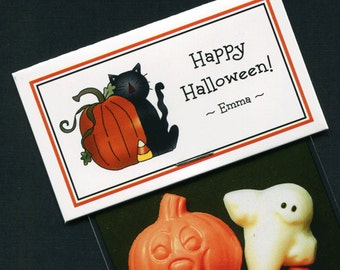 Personalized Halloween Party Favor Bag Topper Label With Black Cat And Pumpkin, Set of 25