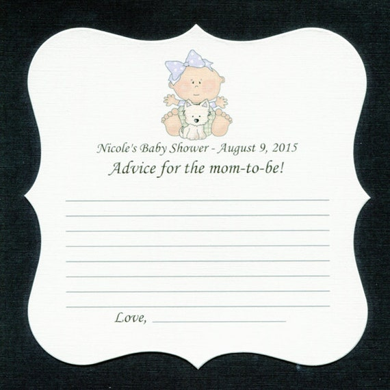 Personalized Baby Shower Game Sheets, Advice for the mom-to-be, baby girl with puppy, set of 25