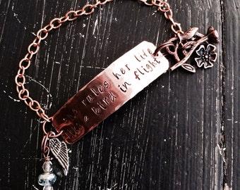 She rules her life like a bird in fligh ~ copper bracelet ~ hand hammered  ~ stevie nicks style ~ Rhiannon