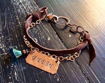 Fleetwood Mac Copper and leather bracelet ~ Bohemian Gypsy Stevie Nicks style ~ Customize with your words ~ metal stamped by hand