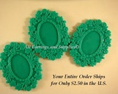 SALE - 3 Teal Cabochon Frame Resin Vintage Style 50x39mm takes 25x18mm Cab - 3 pc - A1006CF-T50x40mm3