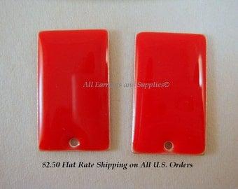 4 Red Enamel Rectangle Epoxy Charm Bead Drop 23x14mm - 4 pc - 2405