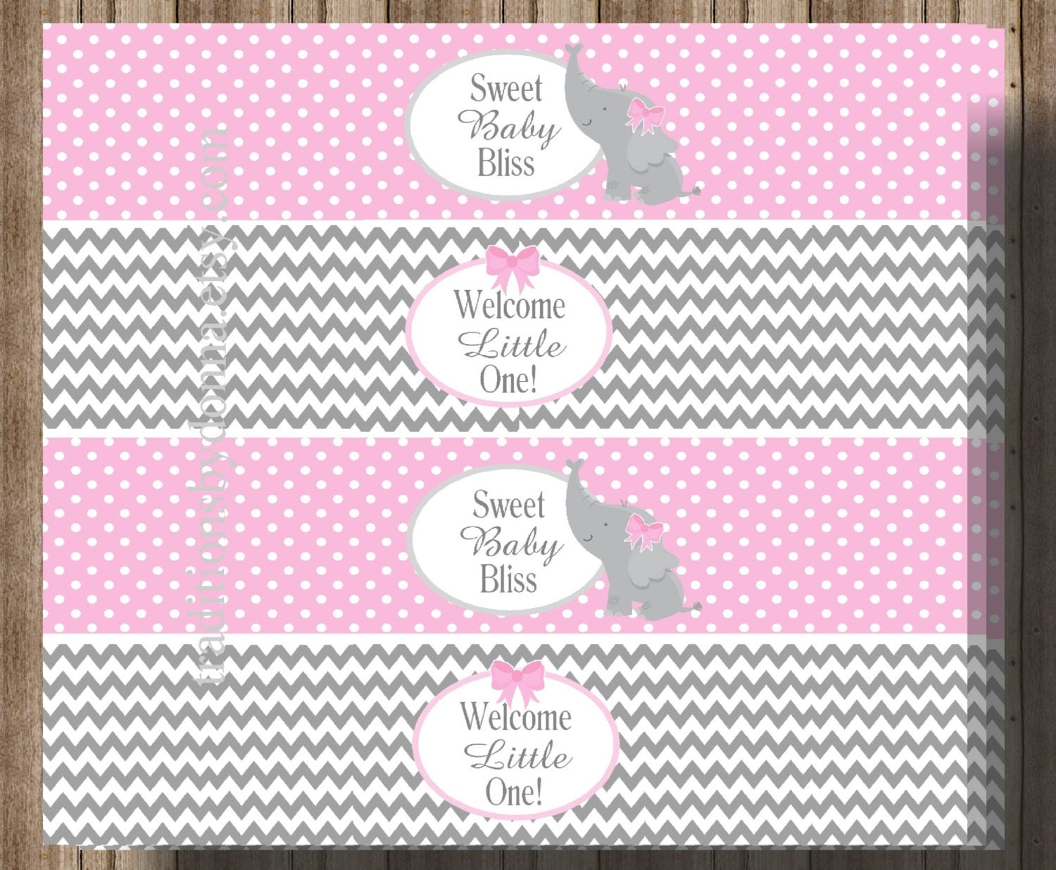 baby shower water bottle labels pink and gray chevron girl