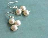 Pearls  Sterling silver drops with flat  fresh water pearl