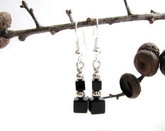 Black Onyx Stone Earrings Wire Wrapped Geometric Cube Dangle Eco Friendly Jewelry by Hendywood