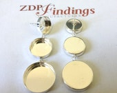 2pcs (Pair) Round 10,12&15mm Bezel Stud Earrings Sterling Silver 925 (610101215)
