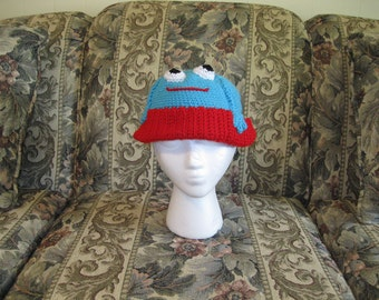 Turquoise Blue and Red Frog Beanie Hat Cap Child Toddler Teen Adult Gift Present Christmas Stocking Stuffer Girl Boy Birthday Made to Order