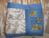 Artsy Linen Denim Bag Tote Shoulder or Cross Body One of a Kind