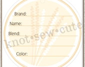 YARN TAG - Wheat - Printable PDF - Instant Download