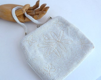 Beaded Evening Bag - white beads with beaded handle and working clasp