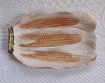 Corn Platter / Ceramic Majolica Corn Platter
