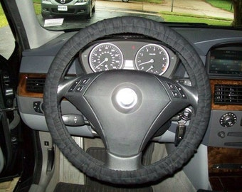 Organic Black Cotton Steering Wheel Cover