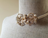 Gold Rhinestone Bow with Ivory Freshwater Pearls - Constellation in Ivory - Cocktail Cuff