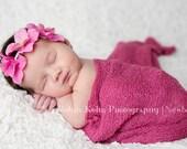 Medium Pink Trio Hydrangea flower headband with Swarovski Crystal embellishements-newborn-adult sizes-Great Photo Prop